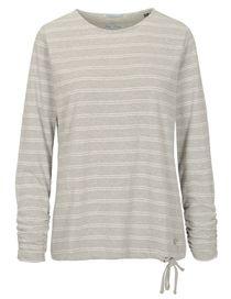 FRY DAY Langarmshirt mit Struktur-Streifen - Silvergrey Melange