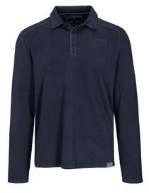 Langarm Polo Shirt mit kurzer Knopfleiste - Blue Navy