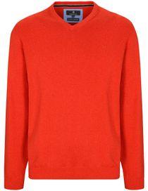 V-Neck Pullover Cotton Kaschmir - Lava Red Melange