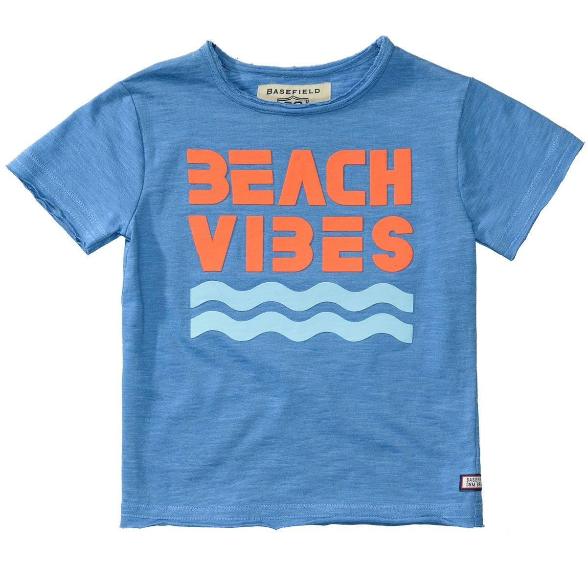 BASEFIELD T-Shirt BEACH VIBES - Light Ocean