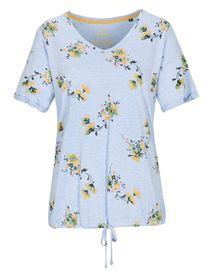 FRY DAY T-Shirt mit Blumen-Print - Sky Blue Melange
