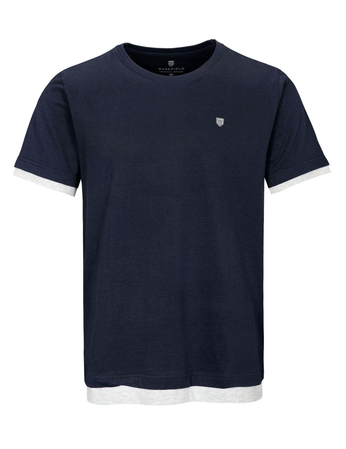 HOMEWEAR Pyjama Shirt in Layer-Optik - Navy