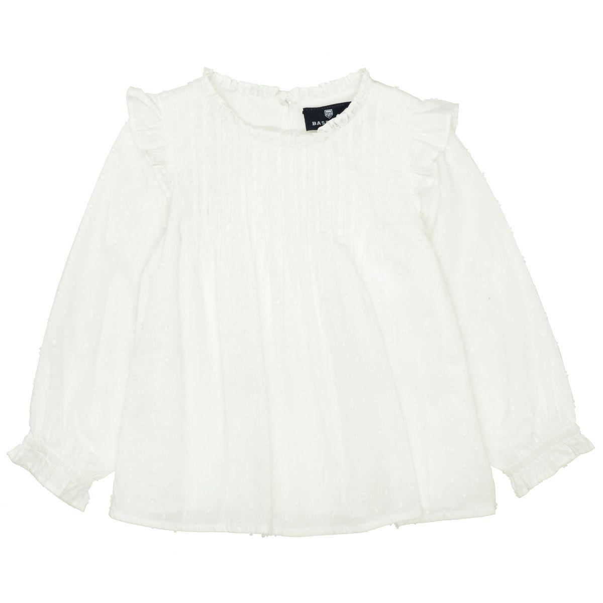 BASEFIELD Bluse mit Web-Tupfen-Allover - Offwhite