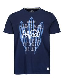 T-Shirt mit Front-Print - Blue Navy