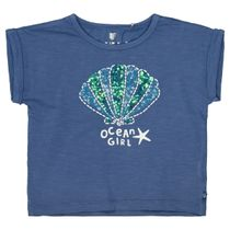 BASEFIELD T-Shirt mit Muschel-Applikation - Jeans Blue