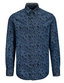 Freizeithemd mit Blumen-Print MODERN FIT - Denim Blue