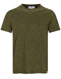 Rundhals T-Shirt gestreift - Curry
