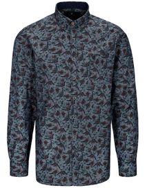 Freizeithemd mit Blumen-Muster MODERN FIT - Night Blue