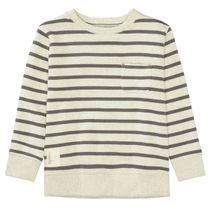 BASEFIELD Sweatshirt mit Streifen - Ecru Melange Dark Anthra