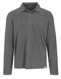 Langarm Polo Shirt mit kurzer Knopfleiste - Anthra
