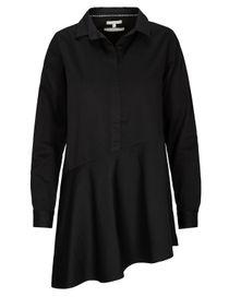 Hemdbluse mit asymmetrischen Saum - Black