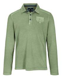 Langarm Polo Shirt mit kurzer Knopfleiste - Pesto