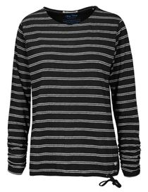 FRY DAY Langarmshirt mit Struktur-Streifen - Black