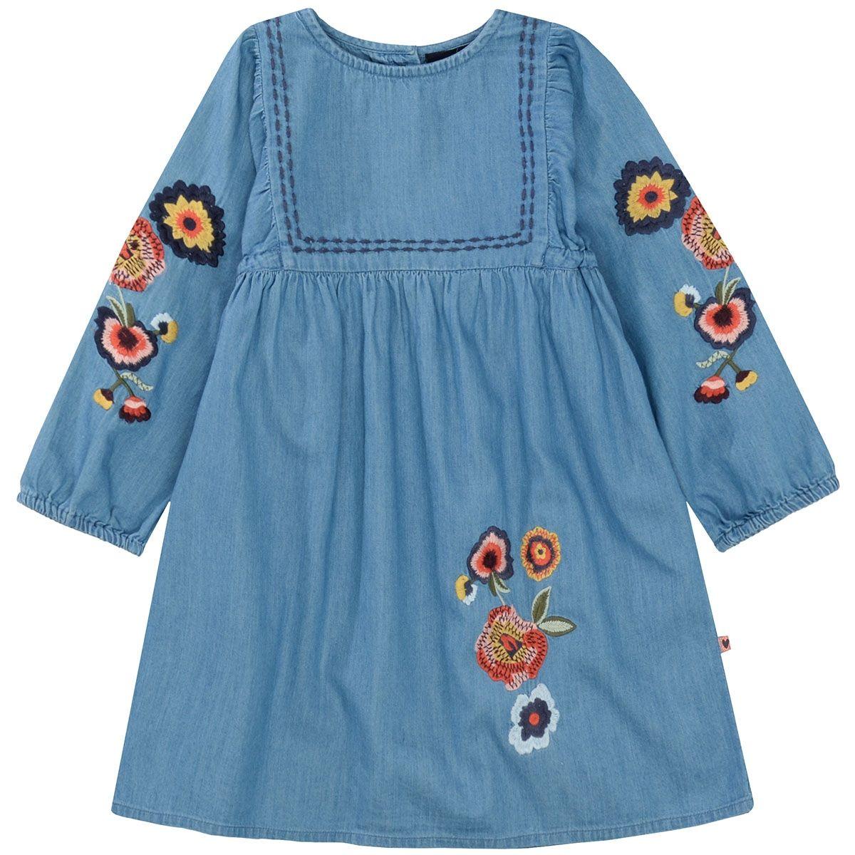 BASEFIELD Kleidchen mit Stickerei - Mid Blue Denim