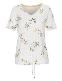 FRY DAY T-Shirt mit Blumen-Print - Silver Melange