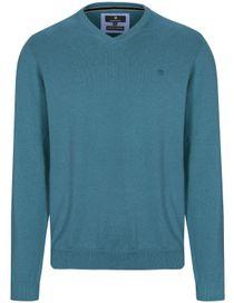 V-Neck Pullover Cotton Kaschmir - Teal Melange