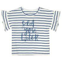 BASEFIELD T-Shirt SEA YOU LATER - Jeans Blue Streifen