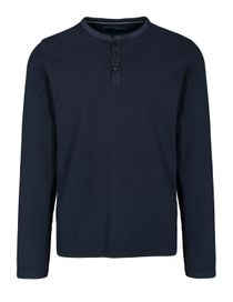 ORGANIC COTTON Henley Shirt aus Bio-Baumwolle - Blue Navy