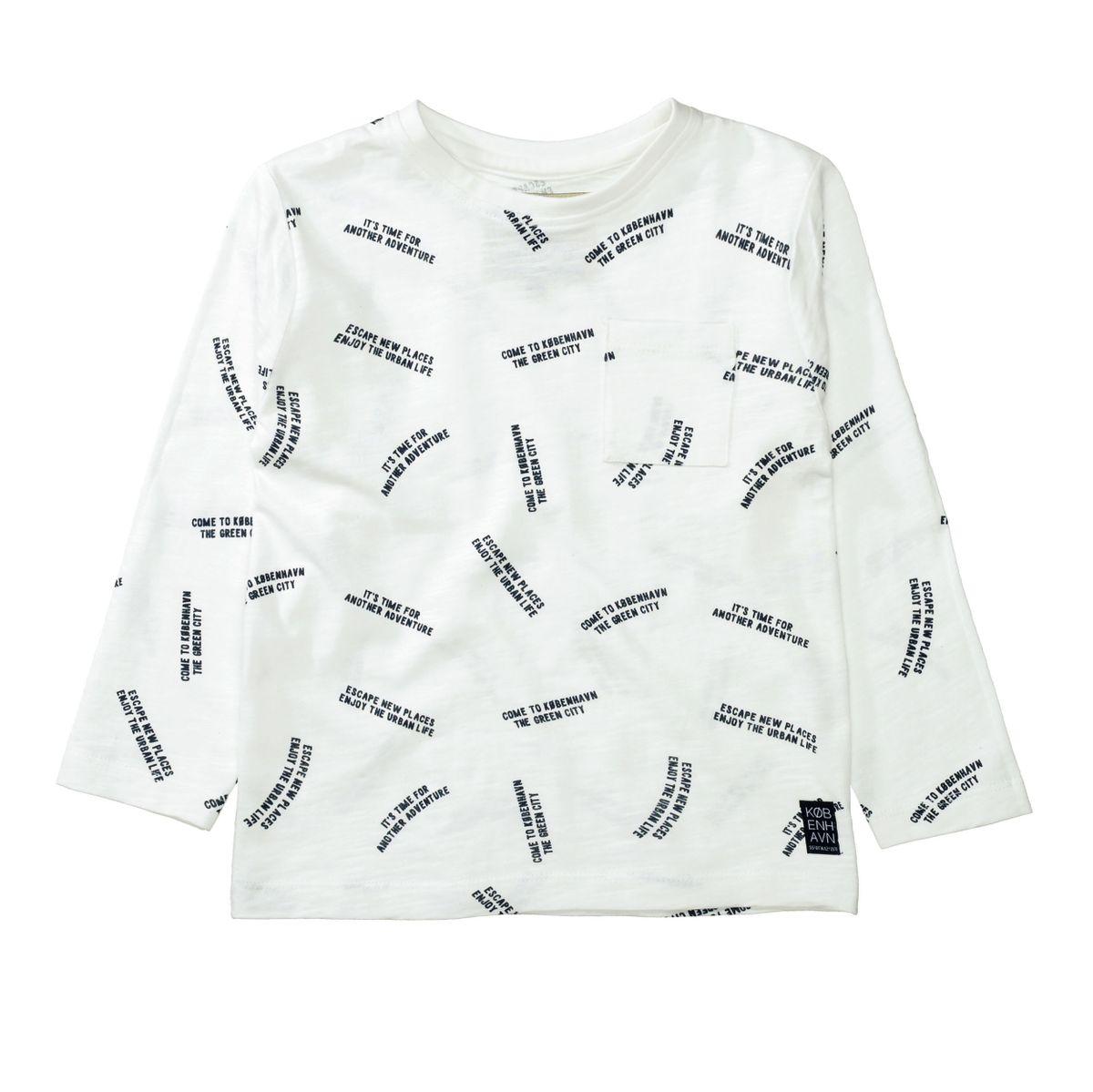 BASEFIELD Langarmshirt mit Wording-Print - Warm White