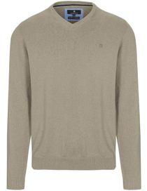 V-Neck Pullover Cotton Kaschmir - Dark Sand Melange