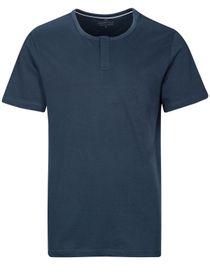 HOMEWEAR T-Shirt mit kurzer Knopfleiste - Denim