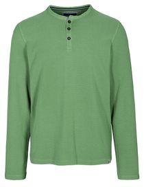 ORGANIC COTTON Henley Shirt aus Bio-Baumwolle - Pesto