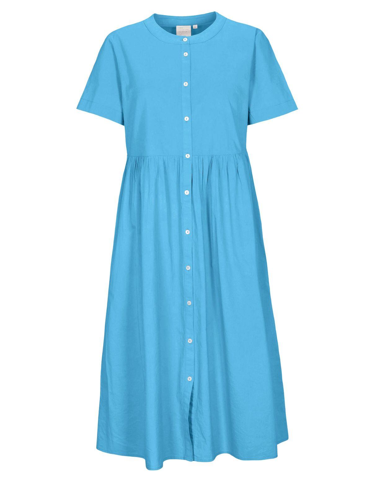 Kleid Organic Cotton mit durchgehender Knopfleiste - Pacific Blue