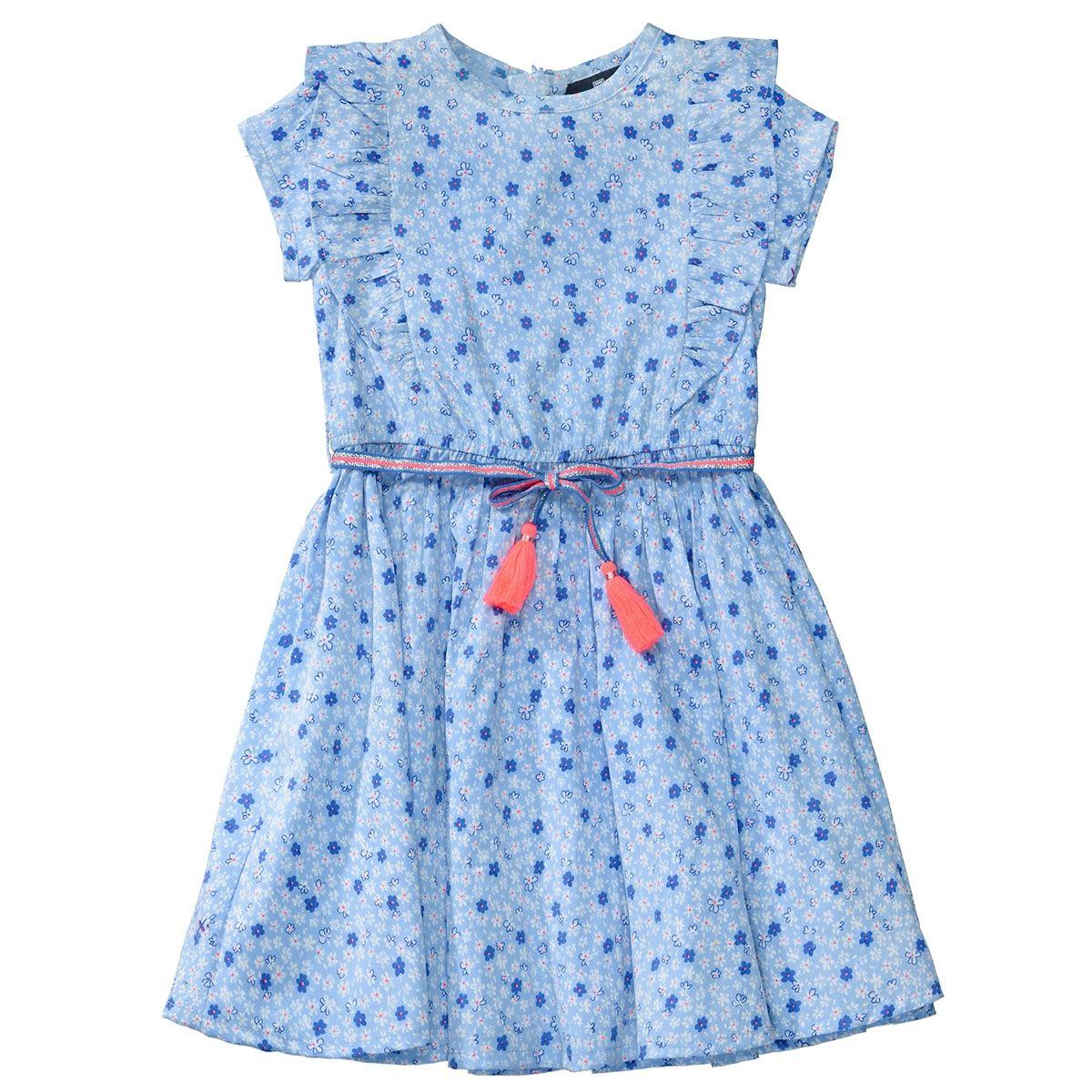 BASEFIELD Kleid mit Rüschen - Sky Alloverprint