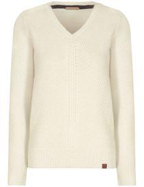 V-Neck Pullover - Stone White Melange