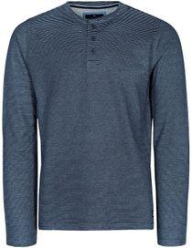 Henley Shirt 1/1 - Blue Navy Melange