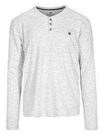 HOMEWEAR Pyjama Shirt mit Knopfleiste - Grey Melange