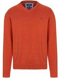 V-Neck Pullover Cotton Kaschmir - Dark Rust Melange