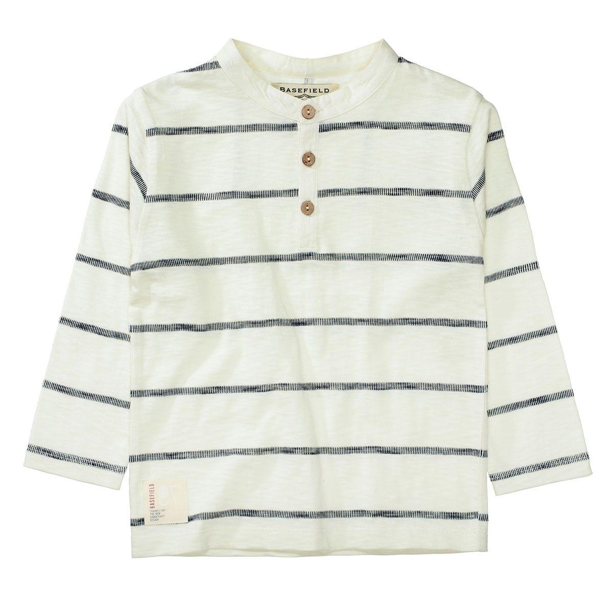 BASEFIELD Langarmshirt Streifen aus reiner Baumwolle - Ecru