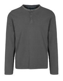 ORGANIC COTTON Henley Shirt aus Bio-Baumwolle - Anthra